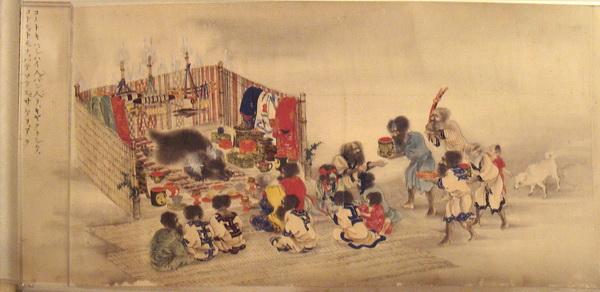 Жертвоприношение медведю у айнов. Японский рисунок 1870 года